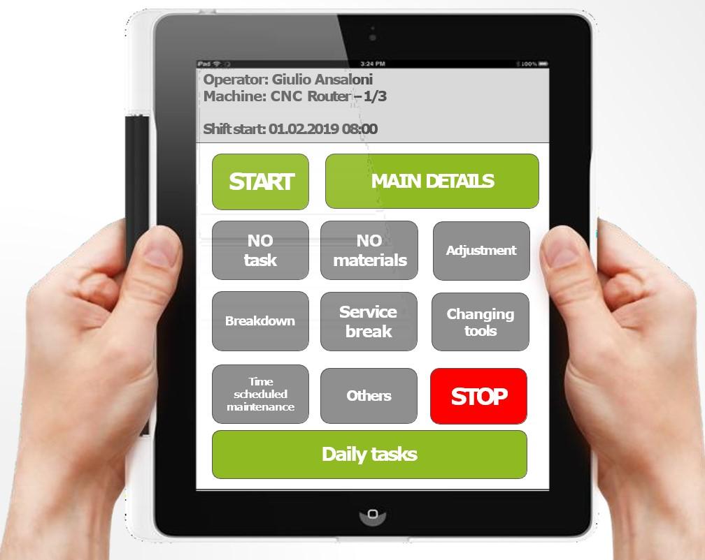 MIMO sistem za nadzor na proizvodnjo - zaslon uporabnika/operaterja na stroju