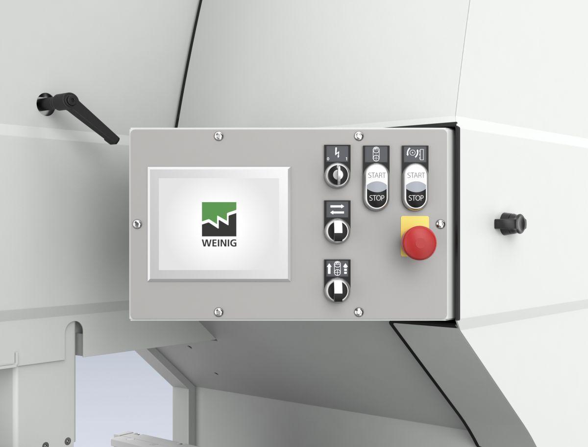 Tračna žaga Weinig VarioSplit 900 s krmilnikom omogoča shranitev različnih mer in nastavitev.