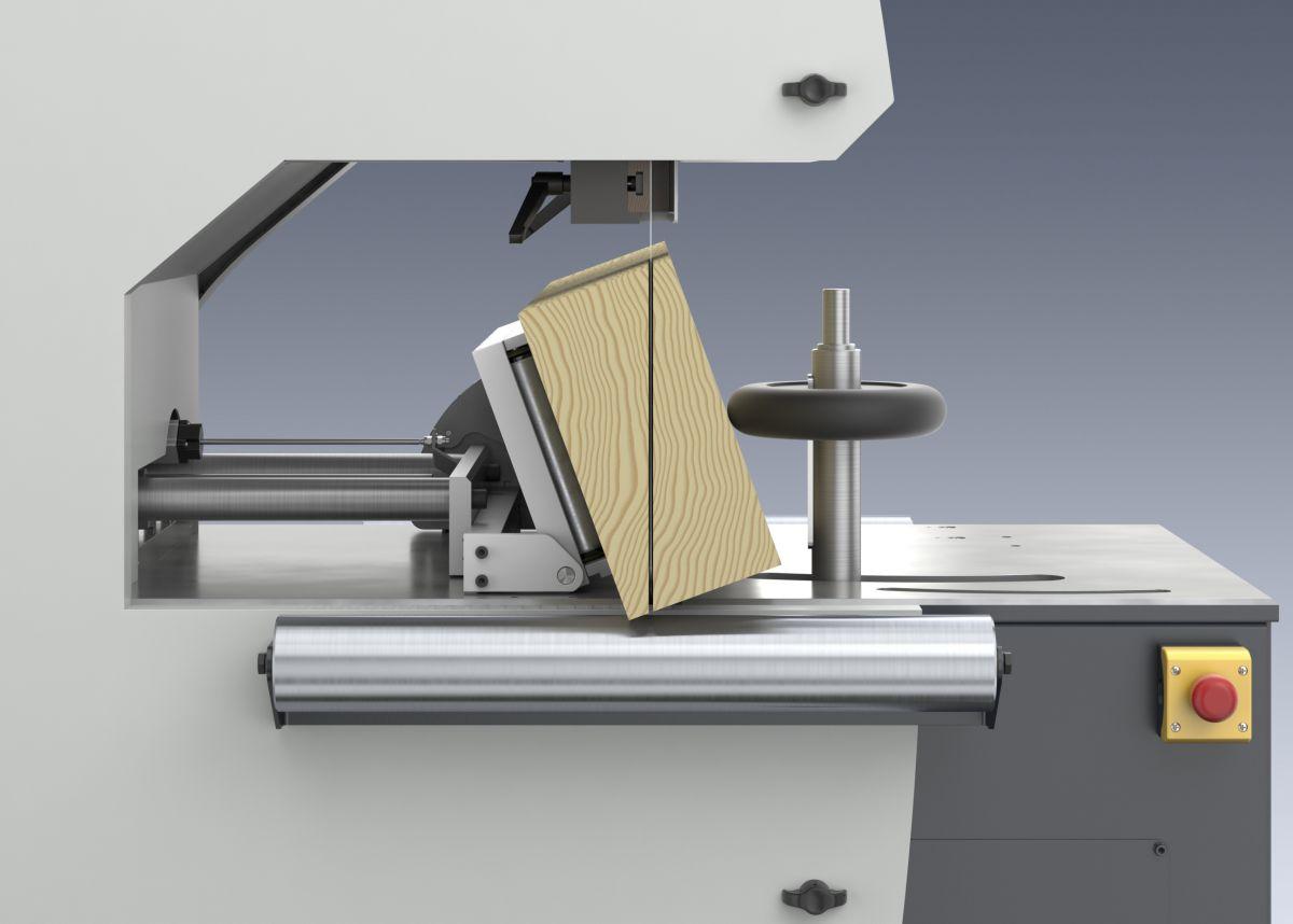 Tračna žaga Weinig VarioSplit 900 z nagibnim prislonom omogoča poševen razrez (a x b).