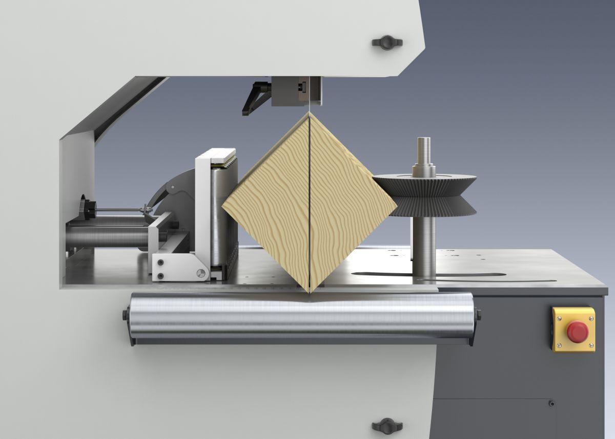 Tračna žaga Weinig VarioSplit 900 z nagibnim prislonom omogoča poševen razrez (a x a).